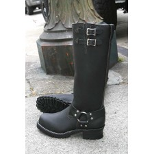 """Wesco 16"""" Black Leather Harness Boots 2-Buckle BK7716HLL100 D-H2"""